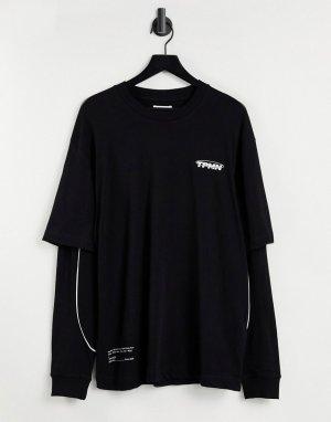 Черный лонгслив в стиле oversized с несколькими слоями -Черный цвет Topman