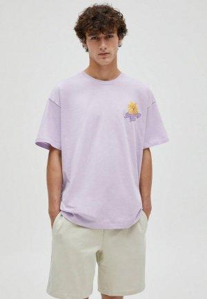 Футболка Pull&Bear. Цвет: фиолетовый