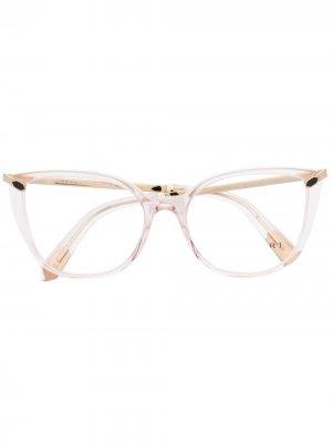 Очки в прозрачной оправе кошачий глаз Bvlgari. Цвет: розовый
