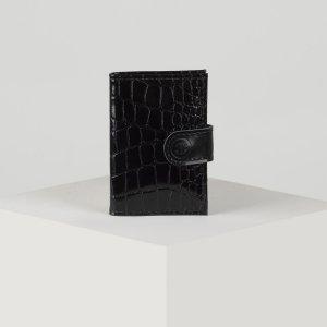 Визитница, 18 листов, цвет чёрный TEXTURA