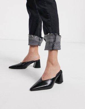 Черные мюли на блочном каблуке с заостренным носком -Черный Topshop