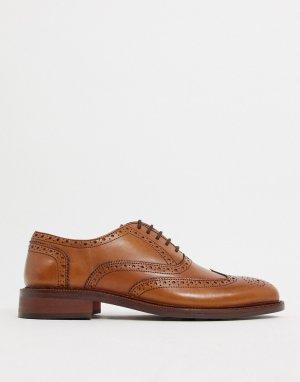 Светло-коричневые кожаные туфли на шнуровке -Светло-коричневый Dune