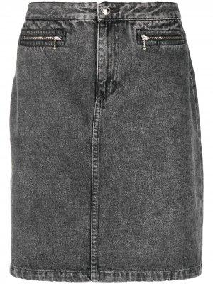 Джинсовая юбка с эффектом потертости A.P.C.. Цвет: черный