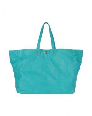 Большая кожаная сумка M MISSONI. Цвет: бирюзовый