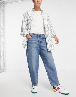 Темные выбеленные джинсы широкого кроя из органического хлопка -Голубой ASOS DESIGN