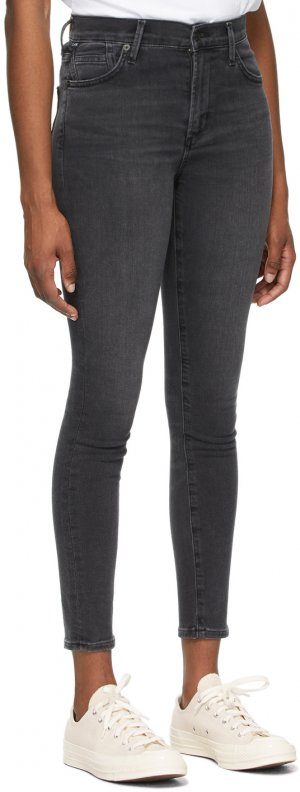 Black Mid-Rise Rocket Ankle Jeans Citizens of Humanity. Цвет: reflection