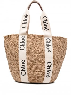 Большая сумка-тоут Woody Chloé. Цвет: нейтральные цвета