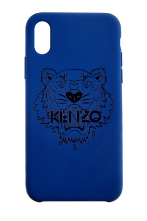 Чехол на iPhone X/XS с покрытием soft-touch и логотипом «Tiger» KENZO. Цвет: синий