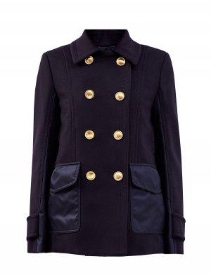 Укороченное пальто-бушлат из шерстяного драпа с пуговицами VLogo VALENTINO. Цвет: синий