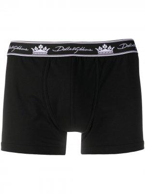Боксеры с логотипом Dolce & Gabbana. Цвет: черный
