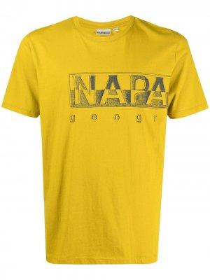 Футболка с логотипом Napapijri. Цвет: желтый