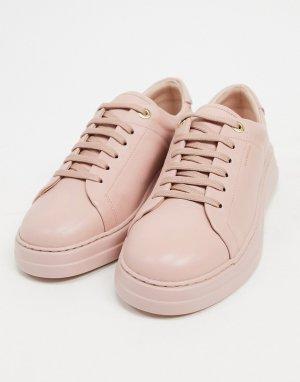 Светло-розовые кожаные кроссовки на шнуровке Anouk-Neutral Fiorelli