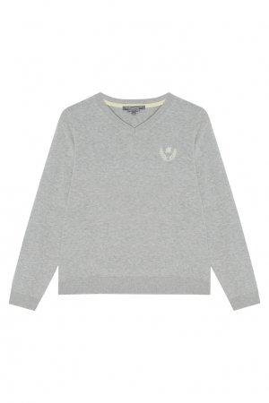 Серый хлопковый пуловер Bonpoint. Цвет: серый