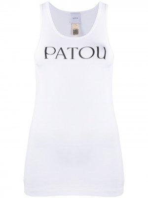Топ без рукавов с логотипом Patou. Цвет: белый