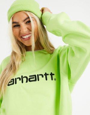 Черно-лаймовый свитер с логотипом -Зеленый Carhartt WIP