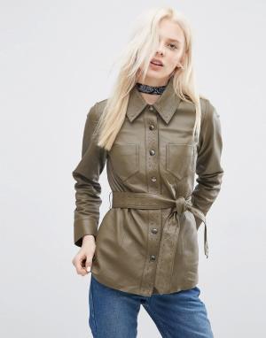Кожаная куртка с поясом и декоративной строчкой ASOS. Цвет: зеленый
