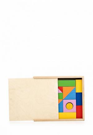 Конструктор Paremo Деревянный. Окрашенный. 35 деталей. В деревянном ящике. Цвет: разноцветный