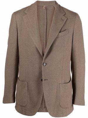 Delloglio однобортный пиджак из смесовой шерсти Dell'oglio. Цвет: коричневый
