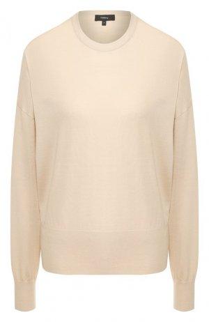 Шерстяной пуловер Theory. Цвет: бежевый
