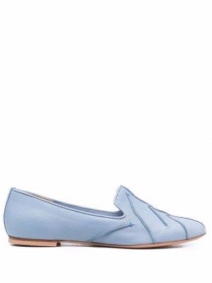Flex pipe-trim leather shoes Anna Baiguera. Цвет: синий