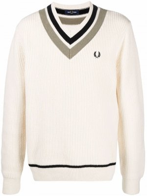 Stripe-trim cricket jumper FRED PERRY. Цвет: нейтральные цвета