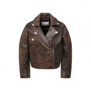 Кожаная куртка Ganni. Цвет: коричневый