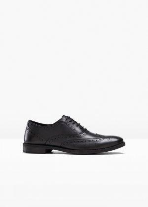 Туфли кожаные bonprix. Цвет: черный