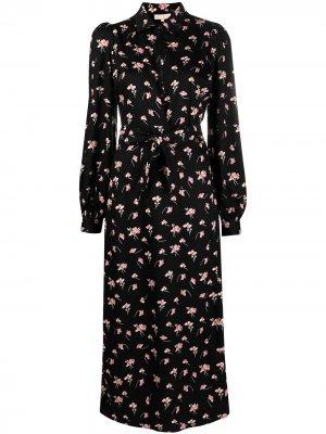 Платье миди с цветочным принтом byTiMo. Цвет: черный