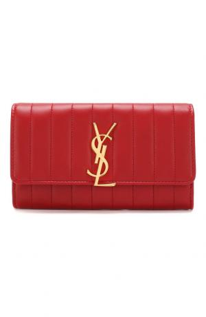 Кожаный кошелек Vicky с клапаном Saint Laurent. Цвет: красный