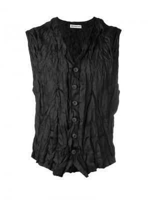 Жилет с эффектом мятой ткани Issey Miyake Vintage. Цвет: черный