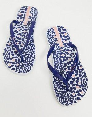 Темно-синие шлепанцы с леопардовым принтом -Темно-синий Ipanema