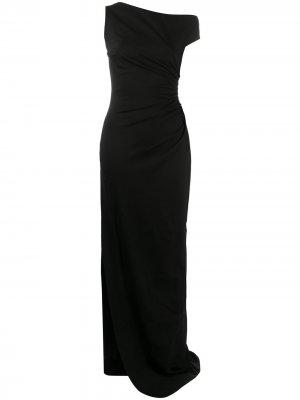 Вечернее платье асимметричного кроя со сборками Dsquared2. Цвет: черный