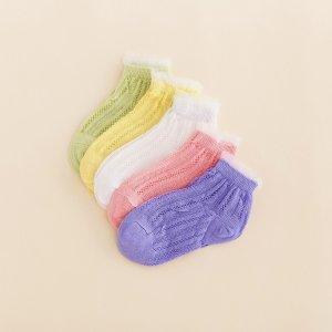 Для девочек 5 пар Носки до щиколотки с кружевной отделкой SHEIN. Цвет: многоцветный