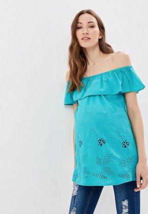Блуза Очаровательная Адель. Цвет: бирюзовый