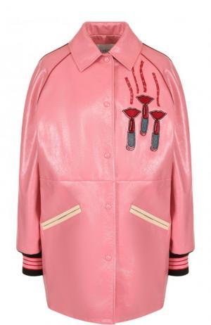 Кожаная куртка с отложным воротником и контрастной отделкой Valentino. Цвет: розовый