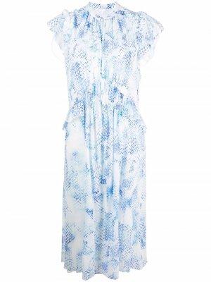 Платье Delphi с цветочным принтом Lala Berlin. Цвет: белый