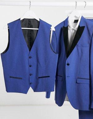 Синий двубортный жилет под смокинг узкого кроя -Голубой Selected Homme