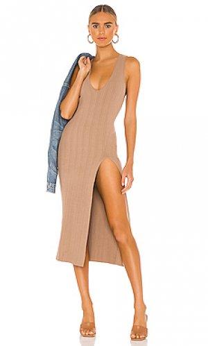 Платье variegated rib Michael Costello. Цвет: серо-коричневый