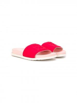 Двухцветные шлепанцы Fendi Kids. Цвет: красный