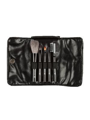 Набор кистей (5шт.) для макияжа в чехле Zinger. Цвет: темно-серый, черный