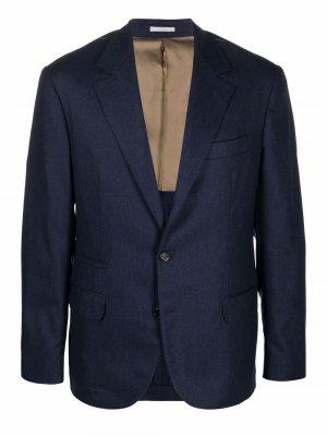 Однобортный пиджак с заостренными лацканами Brunello Cucinelli. Цвет: синий