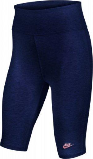 Бриджи для девочек Sportswear, размер 137-146 Nike. Цвет: синий