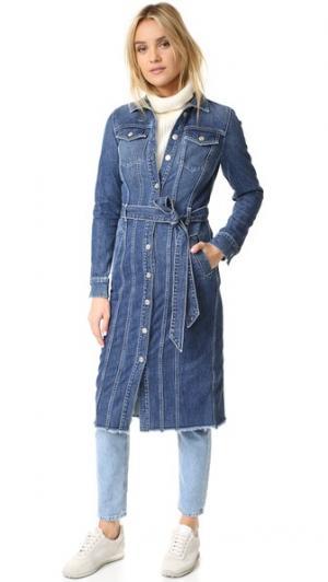 Длинная классическая джинсовая куртка 7 For All Mankind. Цвет: waterloo