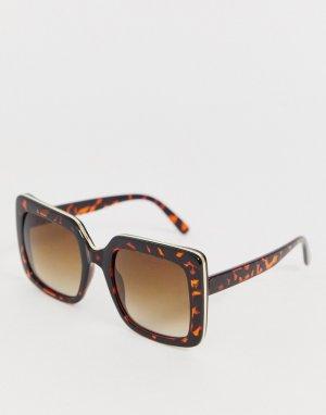Квадратные солнцезащитные oversize-очки в черепаховой оправе -Коричневый AJ Morgan