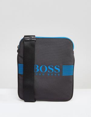 Серая нейлоновая сумка BOSS. Цвет: серый
