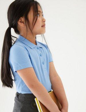 Футболка-поло Slim fit для девочки (2шт) Marks & Spencer. Цвет: синий