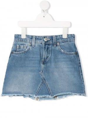 Джинсовая юбка мини с нашивкой-логотипом Chiara Ferragni Kids. Цвет: синий