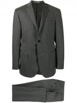 Костюм Academy с однобортным пиджаком в елочку Corneliani. Цвет: серый