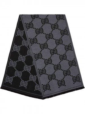 Жаккардовый шарф с узором GG Supreme Gucci. Цвет: серый
