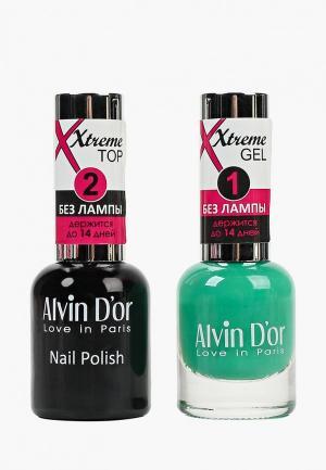 Набор гель-лаков Alvin Dor D'or Гель Xtreme extreme (Лак+Top) 2х15мл.5215 тон MIX 52. Цвет: прозрачный